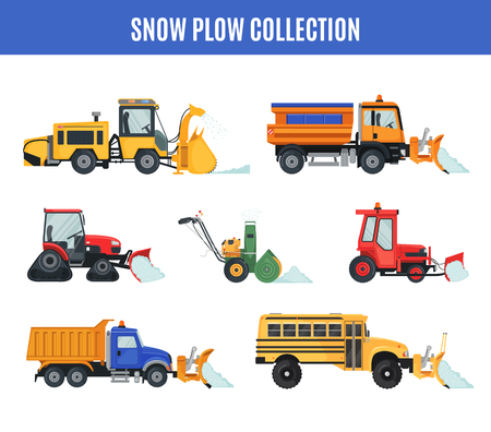 Illustration pour Snow Plow collection in flat style on white. - image libre de droit