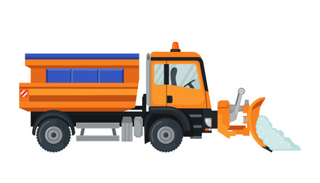 Illustration pour Snow Plow truck in flat style isolated on white. - image libre de droit