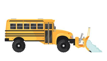 Illustration pour Snow Plow school bus in flat style on white. - image libre de droit