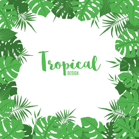 Illustration pour Tropical frame with exotic tropical leaves, palm tree and monstera in hand drawn style. Floral border template. Vector illustration. - image libre de droit