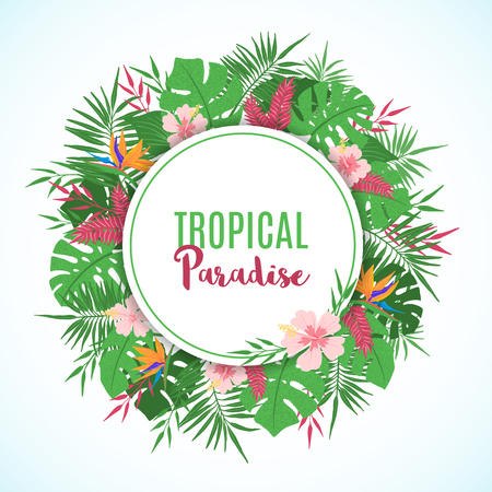 Illustration pour Tropical frame with exotic tropical leaves, palm tree, monstera and flowers in hand drawn style. Floral border template. Vector illustration. - image libre de droit