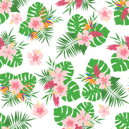 Illustration pour Tropical seamless pattern with exotic leaves and flowers. Design element for fabric, textile, wallpaper, scrapbooking or others. Vector illustration. - image libre de droit
