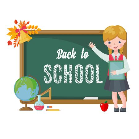 Illustration pour Cute girl with chalkboard, books and school supplies isolated on white background. Pupil in uniform. Back to School cartoon card. Education concept. Vector illustration. - image libre de droit