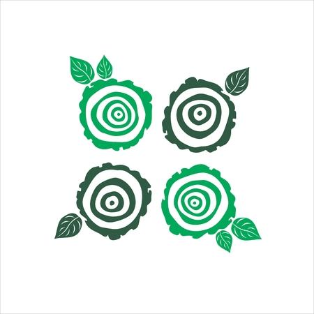 Illustration pour vector growth rings tree trunk symbols. slice of tree trunk - image libre de droit