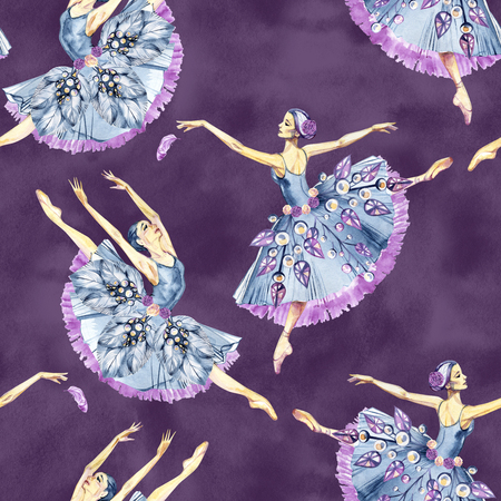 Seamless pattern of ballet dancers, watercolor painting. It can be used for card, postcard, cover, invitation, wedding card, mothers day card, birthday card, poster, print.