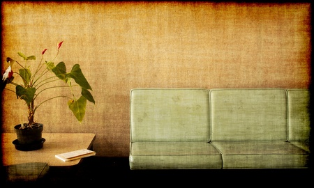 Grungy photo of a Room with chairs, potted plant and a book