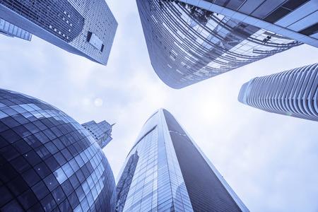 Foto de Low angle view of skyscrapers in Guangzhou China. - Imagen libre de derechos