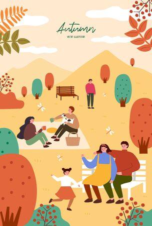 Photo pour Autumn festival. Poster template for outdoor festival. Flat cartoon colorful illustration. - image libre de droit