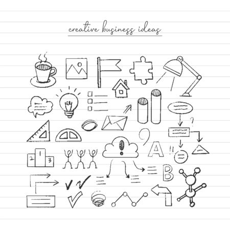 Illustration for Business idea sketch. Hand drawn doodle. - Royalty Free Image