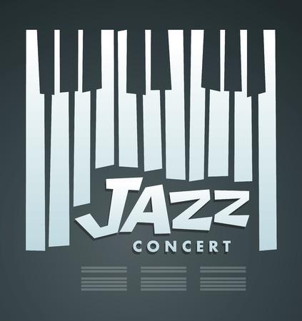 Illustration pour Jazz music concert & Festival, poster background template. Music piano - image libre de droit