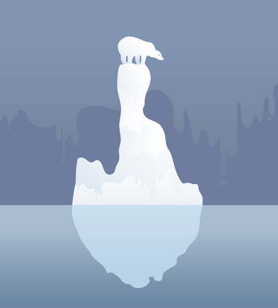 Polar bear on an ice floe. Possible result of climate change Vector illustration