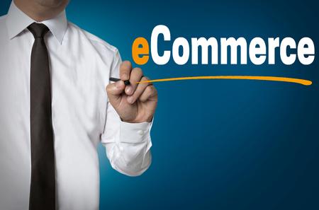 Photo pour e commerce is written by businessman background concept. - image libre de droit
