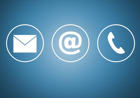 Photo pour Contact icons e mail newsletter phone concept. - image libre de droit