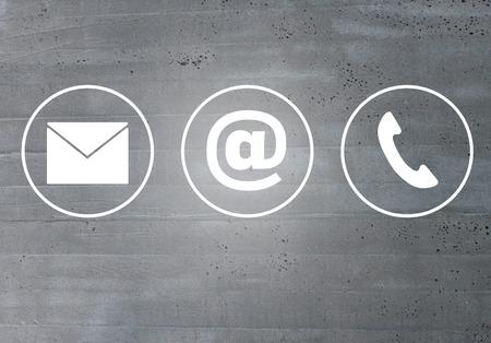 Photo pour Contact icons email message phone concept. - image libre de droit