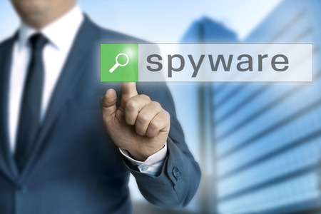 spyware browser is operated by businessman background.