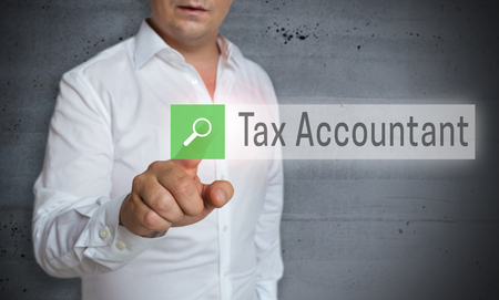tax accountant browser is operated by man concept.