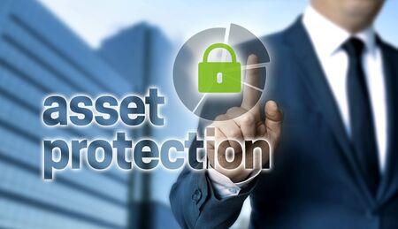 Photo pour Asset Protection concept is shown by businessman. - image libre de droit
