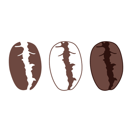 Coffee bean icon. Roasted coffee plant seed. Vector Illustration