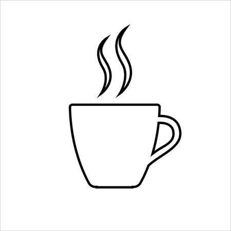 Espresso line icon Strong coffee in espresso cup and smoke Vector Illustration