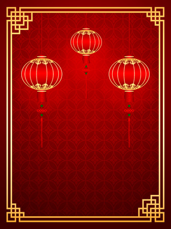 Chinese traditional template with lanterns on Seamless Pattern Background