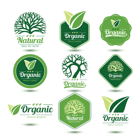 Nature labels and badges with green tree and leave , vector illustration