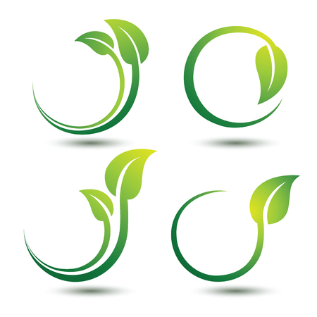 Illustration pour Green labels concept with leaves,vector illustration - image libre de droit