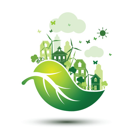 Ilustración de green city with green Eco leaves concept ,illustration - Imagen libre de derechos