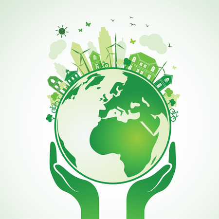 Hands Holding The Green Earth Globe with city ,Illustration