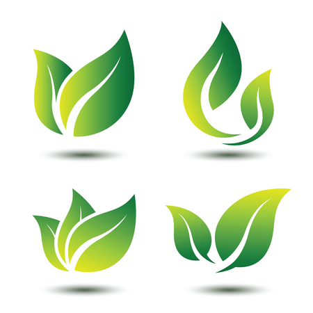 Illustration for Green leaf eco symbol set - Royalty Free Image