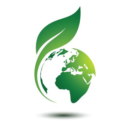 Ilustración de Green earth concept with leaves,vector illustration - Imagen libre de derechos