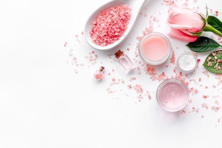 Photo for Natural cosmetic with rose oil on white background top view. - Royalty Free Image