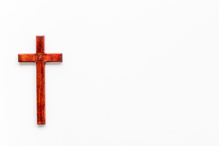 Photo for Funeral concept. Wooden cross on white background top view copy space - Royalty Free Image