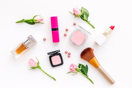 Foto de Makeup products for young girls on white background - Imagen libre de derechos