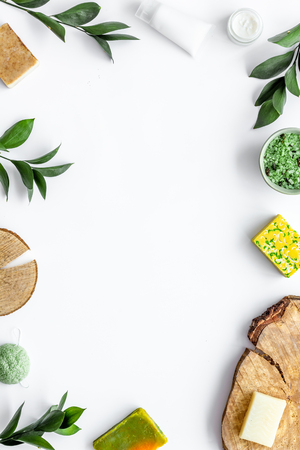 Foto de Herbal organic cosmetic set for homemade spa on white table background flatlay mock-up - Imagen libre de derechos