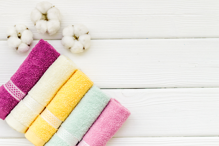Photo pour High quality cotton products. Bath accessories made of cotton set with towels on white wooden background top view mockup - image libre de droit