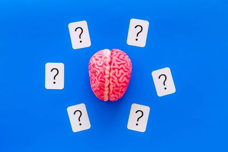 Discussion in office. Brain storm and business ideas concept with brain and question mark on blue background top view