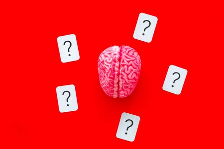 Discussion in office. Brain storm and business ideas concept with brain and question mark on red background top view