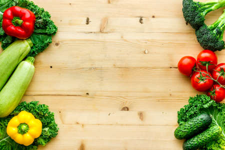 Photo for Fresh colorful organic vegetables - farming and healthy food, top view - Royalty Free Image