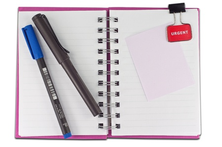 blank page of note book Notebook and office supplies on white isolate,whith cliping path