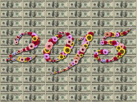 2015 Flowers on festive on  Hundred Dollar banknotes  Background. High resolution