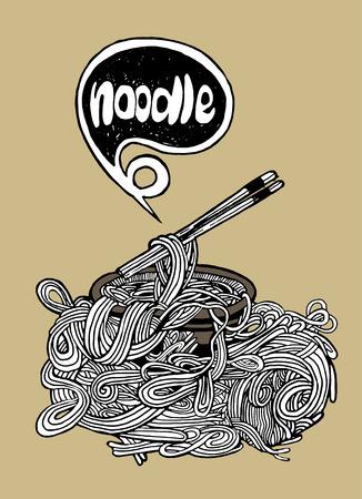 Hipster Noodle doodles Background,drawing style.Vector illustration.