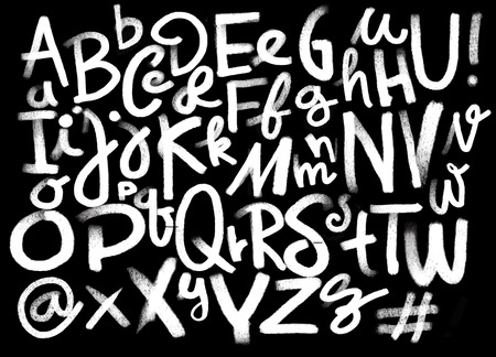 Illustration pour Font pencil vintage hand drawn alphabet drawing with chalk on chalkboard background.Hand drawn calligraphy. Modern chalk typography. - image libre de droit