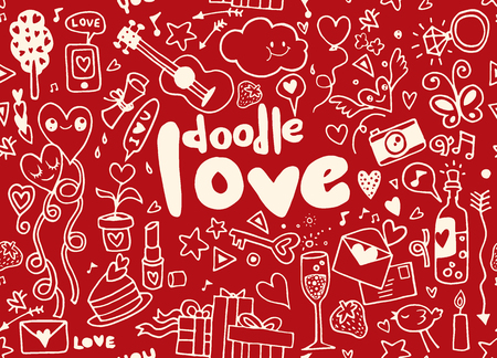 Love hand lettering and doodles elements sketch background. seamless background doodle vector.のイラスト素材