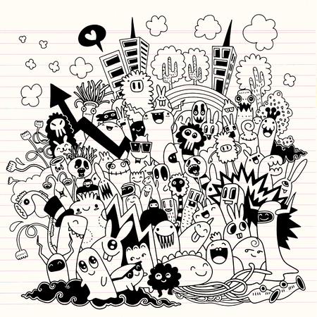 Illustration pour Hand Drawn Vector Illustration of Doodle monster city, illustrator line tools drawing,Flat Design - image libre de droit