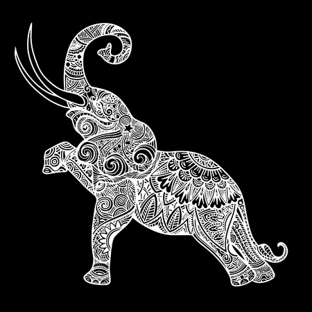 Illustration pour Stylized fantasy patterned elephant. Hand drawn vector illustration with traditional oriental floral elements. - image libre de droit