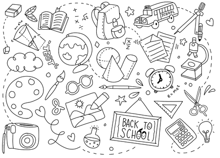 Illustration for Back to School poster with doodles of school art Vector illustration. - Royalty Free Image