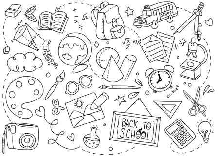 Illustration pour Back to School poster with doodles of school art Vector illustration. - image libre de droit