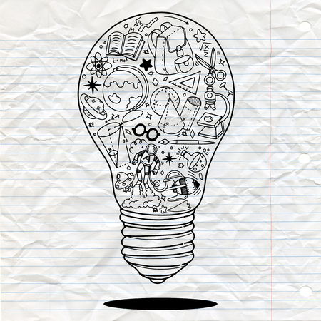 Illustration pour Vector illustration of Doodle Lightbulb ideas concept doodles icons set. Vector illustration. - image libre de droit