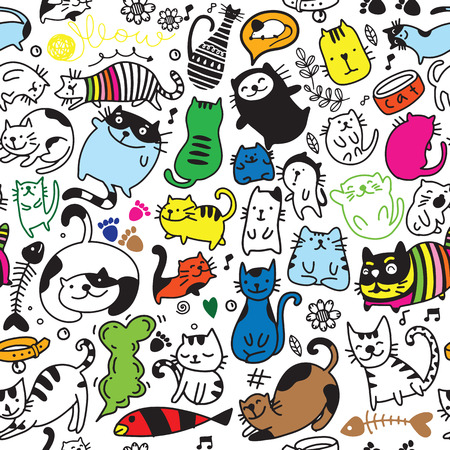 Illustration for Vector seamless pattern with hand draw textured cats in graphic doodle style. endless background. - Royalty Free Image