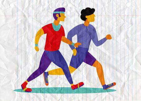 Illustration pour Two Running men. Cartoon jogging buddy. Vector illustration - image libre de droit